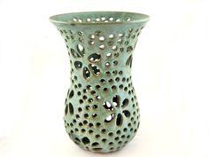 Handmade pottery lace vase, modern home decor - In stock by Ningswonderworld on Etsy https://www.etsy.com/listing/87247771/handmade-pottery-lace-vase-modern-home