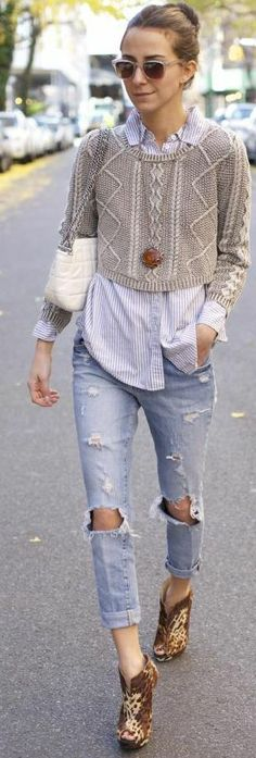 Tricot Cropped. Love the short sweater on a long shirt + denim and booties