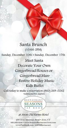 **COMING UP!** Get into the Christmas spirit on Sunday December & December at our SANTA BRUNCH! Buffet, music, crafts and meet Santa himself! at Seasons Restaurant! Seasons Restaurant, Meet Santa, 10 December, Music Crafts, Tap Room, Music For Kids, Old Farm, Holiday Festival, Gingerbread Man
