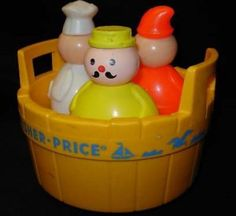 vintage FISHER-PRICE: 3 Men in a Tub: 1970's toys  My sister had one of these!