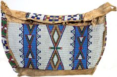 A SIOUX BEADED HIDE TIPI BAG. c. 1890.