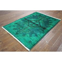 Manhattan One of a Kind Modern Overdyed Hand-knotted H8811 Area Rug