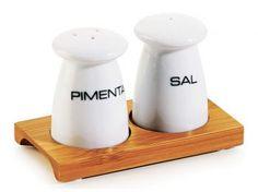 Conjunto Sal E Pimenta Em Porcelana e Bambu Roma 3 Peças Welf
