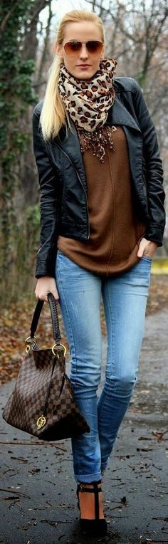 Wonderful Casual Look Kors Bag Leather Jacket and Leopard printed scarf.