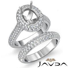 Oval-Diamond-Engagement-Ring-Wedding-Bridal-Set-18k-Gold-White-Semi-Mount-3Ct