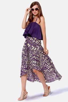 Cute Print Dress - Midi Dress - High Low Dress