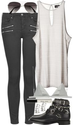 Topshop cropped jeans, $84 / T By Alexander Wang green lingerie, $105 / Yves Saint Laurent black boots, $1,345 / Cuff earrings / H&M aviator sunglasses, $9.10 / Bobbi Brown Cosmetics lip gloss, $28
