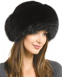 Raylene Black Fox Fur Roller Hat with Mink Top Leather Hats ff3acedb5bb