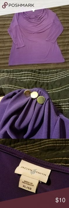 Jaclyn Smith top Deep purple with silver accent buttons. Scoop / droop neckline. Quarter sleeve, size XL Jaclyn Smith Tops Blouses