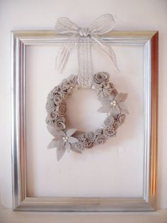 Upcycled Frame With Christmas Wreath/Christmas by Deligato on Etsy, $52.50