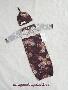 Elegant Vintage Inspired Plum Baby Girl Gown by SnugAsaBugClothes - This would be the cutest coming home outfit ever!!