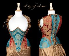 Teal and Red Highbacked corset by ~Cuddlyparrot on deviantART