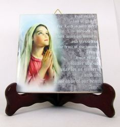 Hail Mary ceramic tile - Catholic gift - prayer room - our lady of blessed virgin mary pope francis Madonna