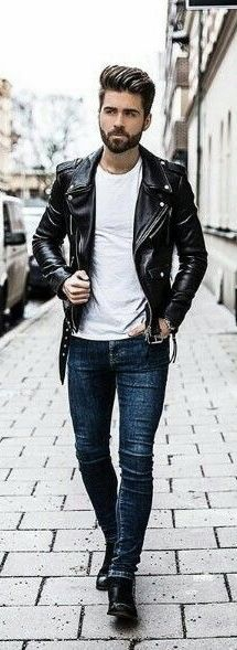 Minimal fall combo inspiration with a black leather jacket white t-shirt slim cut blue jeans black boots. Black Jacket Outfit, Leather Jacket Outfits, Men's Leather Jacket, Leather Jackets, Leather Jeans Men, Black Leather, Look 2018, Fitness Fashion, Mens Fashion