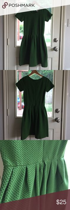 Green Knitted Ganni Dress Modest knit dress. Fitted bodice, nips in at the waist. Skirt is pleated and full. At the knee. Antheopologie. Anthropologie Dresses Mini