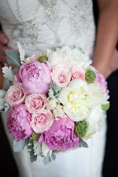 Peony + Rose Bouquet | #Pink | Everest Road Photography |  Floral Design: AJ's Urban Petals | On http://www.StyleMePretty.com/texas-weddings/houston/2013/01/04/houston-wedding-at-flora-muse-from-everest-road-photography/