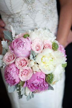Peony + Rose Bouquet   #Pink   Everest Road Photography   Floral Design: AJ's Urban Petals   On http://www.StyleMePretty.com/texas-weddings/houston/2013/01/04/houston-wedding-at-flora-muse-from-everest-road-photography/