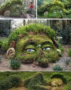 conception et aménagement de jardin avec déco créatives de visage