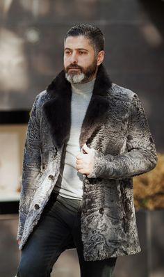 Swakara men's fur jacket by ADAMOFUR #menstyle #menfashion #inspiration #grey #classic #trend #dapper