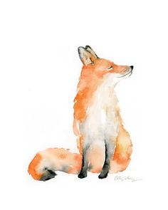 Watercolor Pencil Art, Watercolor Animals, Watercolor Illustration, Watercolor Print, Fox Watercolour, Watercolor Paintings For Beginners, Watercolor Projects, Watercolor Ideas, Fox Painting