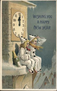 Wising You A Happy New Year Children Postcard Vintage Happy New Year, Happy New Year Images, Happy New Year Cards, New Year Greeting Cards, Happy New Year 2019, New Year Greetings, Vintage Greeting Cards, Vintage Postcards, Vintage Christmas Images