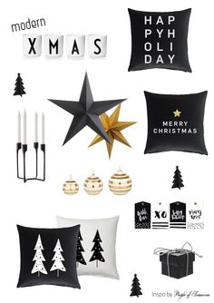 Merry Modern Christmas - by People of Tomorrow Pillows --> www.peopleoftomorrow.no #christmas #modern #black #white #gold #design #interior