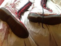 Customised Red Size 5 14 Hole Doc Martens | eBay