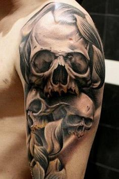 The Half Sleeve Skull Tattoo - http://99tattooideas.com/half-sleeve-skull-tattoo/ #tattoo #tattoos #ink