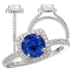 18k created 6.5mm round blue sapphire engagement ring with cushion-shaped diamond halo