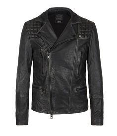 Cargo Biker Leather Jacket, Men, Leathers, AllSaints Spitalfields