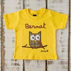 Camiseta bebé manga corta búho con tu nombre - Marketplace social de tiendas para niños de 0 a 14 años