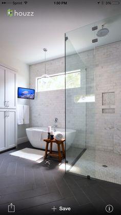 Light walls and tile, dark floors