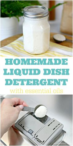 Making your own Homemade Liquid Dishwasher Detergent is so easy to do with a few ingredients and essential oils. It will leave your dishes sparkling clean, and you'll never have to buy the chemical filled, store bought dish detergents again! Homemade Dishwasher Soap, Homemade Dishwasher Detergent, Dishwasher Pods, Homemade Dishwashing Liquid, Dishwasher Cleaner, Homemade Soaps, Homemade Cleaning Supplies, Cleaning Tips, Green Cleaning