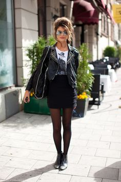 More studs = More rock! Studded black leather jacket #fashion #woman