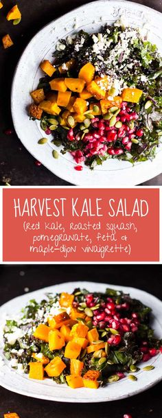This Harvest Kale Salad with Roasted Squash, Pomegranate, Feta and a Maple-Dijon Vinaigrette is a beautiful, simple and delicious side dish for fall and for the holidays.