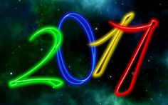 Happy New Year 2017, nebula, neon digits, New Year