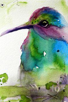 Hummingbird watercolour by RedbirdCottageArt
