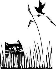 Ilustration. A cat and a bird