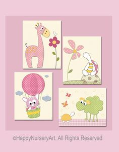 Baby girl nursery art prints set of 4 giraffe by HappyNurseryArt