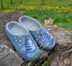 Fisher Cats Felt Slippers Blue Gray Natural Wool for Men for Women House shoes by voilokhouse on Etsy