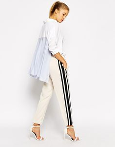 Sportmax, Code Tuxedo Trouser with Cuff, $238.45, available at ASOS. Tuxedo Stripe Pants, Striped Pants, Everyday Look, Everyday Fashion, Drawstring Pants, Mannequin, Fashion Online, Trousers, Fashion Outfits