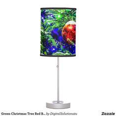 Green Christmas Tree Red Ball Desk Lamp