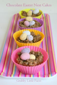 How to make Chocolate Easter Nest Cakes - chewy, shredded wheat, eggs,