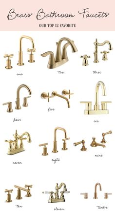 Home: Brass Bathroom Faucets Palm Beach lately's favorite brass faucets<br> Kohler Purist widespread with low cross handles faucet / Delta Lahara centerset faucet/ Kingston widespread faucet / Delta Trinsic widespread faucet / Brass Bathroom Fixtures, Brass Bathroom Faucets, Gold Faucet, Bathroom Red, Lavatory Faucet, Bathroom Hardware, Small Bathroom, Kitchen Fixtures, Washroom