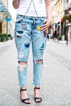 Jeans mit Patches könnt ihr auch selbst machen – ihr benötigt dafür nur ein…