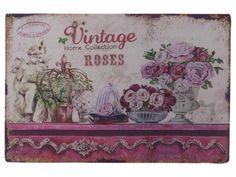 Chic Antique,Blechschild, Rosen,Dekoration,Shabby chic,Romantik,Vintage,Pink