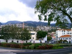 View of inland from the coat of Funchal, Madeira