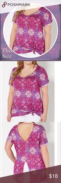 Plus Purple Southwest Split Dolman Top Reach for something a bit more colorful with this eye-catching dolman top. The breathable jersey boasts geo Southwestern prints and features a V-cut back with a split seam. Finished with rolled cuffs. 95% rayon, 5% spandex Machine wash Model wears size 1X Tops Tees - Short Sleeve