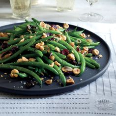 Green Beans with Dried Cranberries and Hazelnuts | MyRecipes.com
