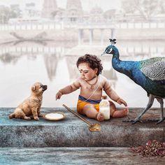 Ayyappa playing with dog and peacock hd images Baby Krishna, Cute Krishna, Krishna Art, Krishna Leela, Shree Krishna Wallpapers, Lord Murugan Wallpapers, Ganesh Lord, Lord Vishnu, Lord Shiva Painting
